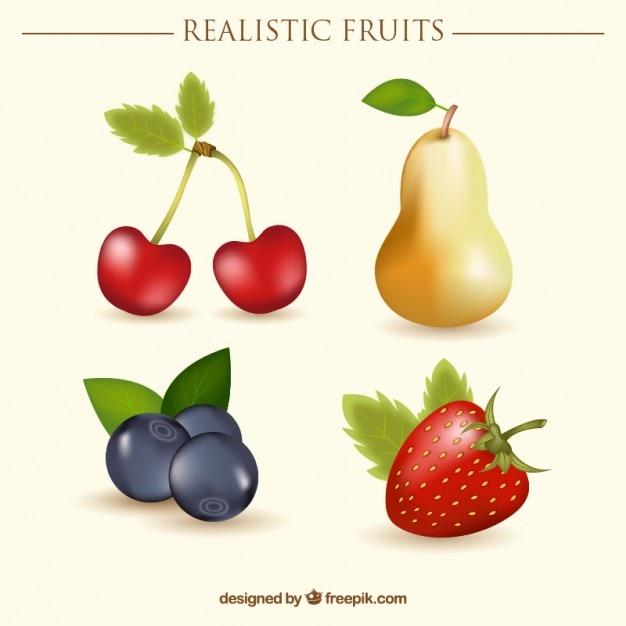 サクランボや梨と現実的な果実 無料ベクター