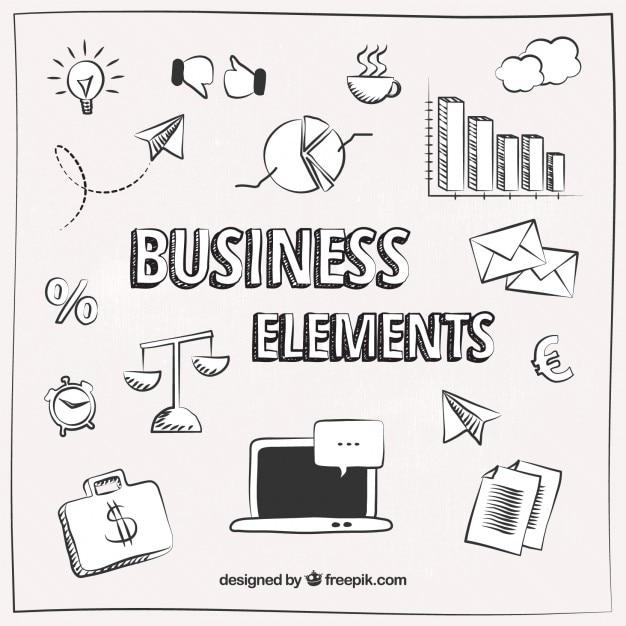 Эскизные бизнес-элементы Бесплатные векторы