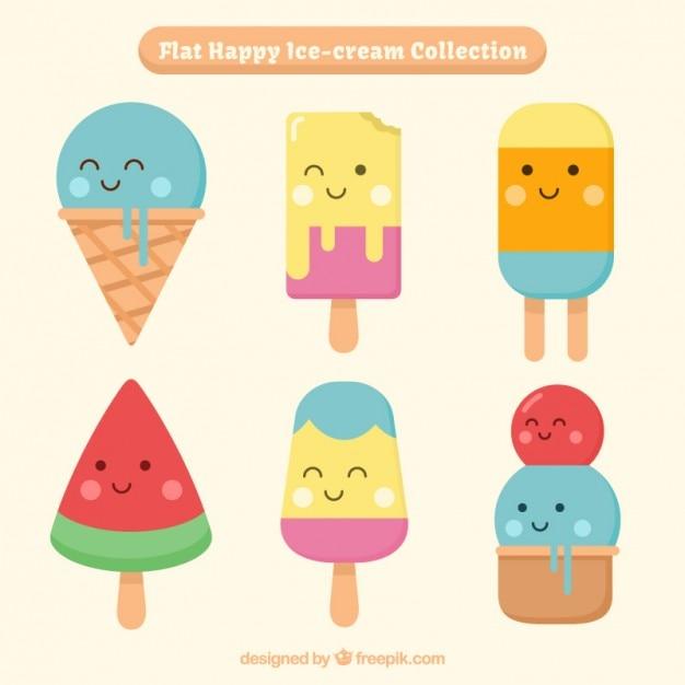 ニースと楽しいアイスクリームの文字 無料ベクター