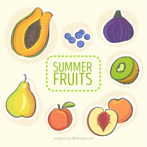 手描き夏の果物のコレクション 無料ベクター
