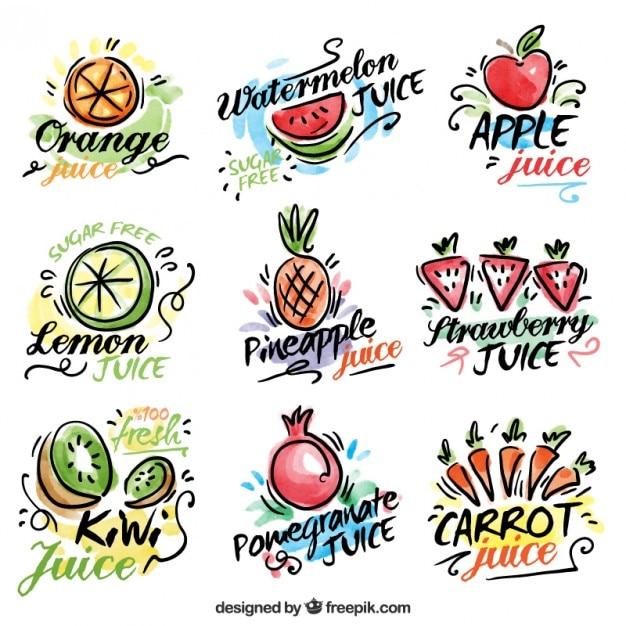 水彩手描きの果物と野菜ジュースのラベル 無料ベクター