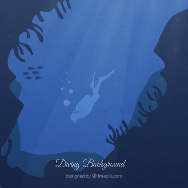 ダイバーの背景を持つ海底 無料ベクター