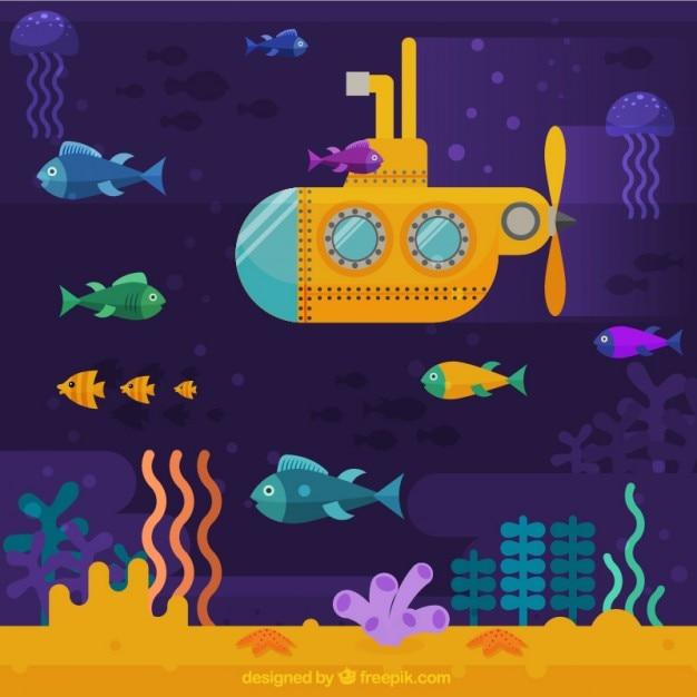 Желтый фон подводная лодка Бесплатные векторы