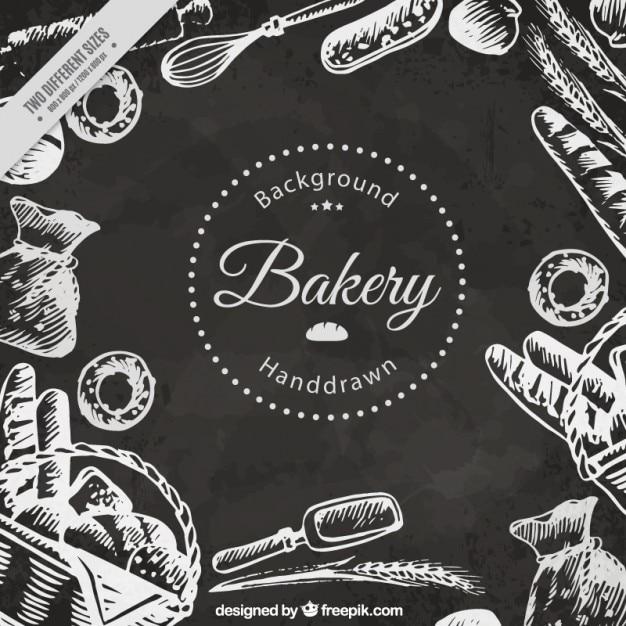 黒板効果で手描きベーカリー製品の背景 無料ベクター