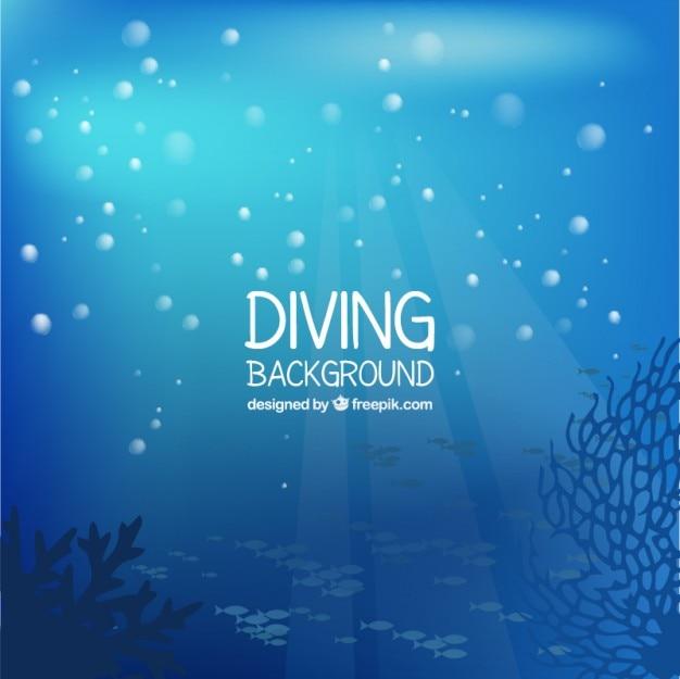 Красивый морского дна фон с пузырьками Бесплатные векторы