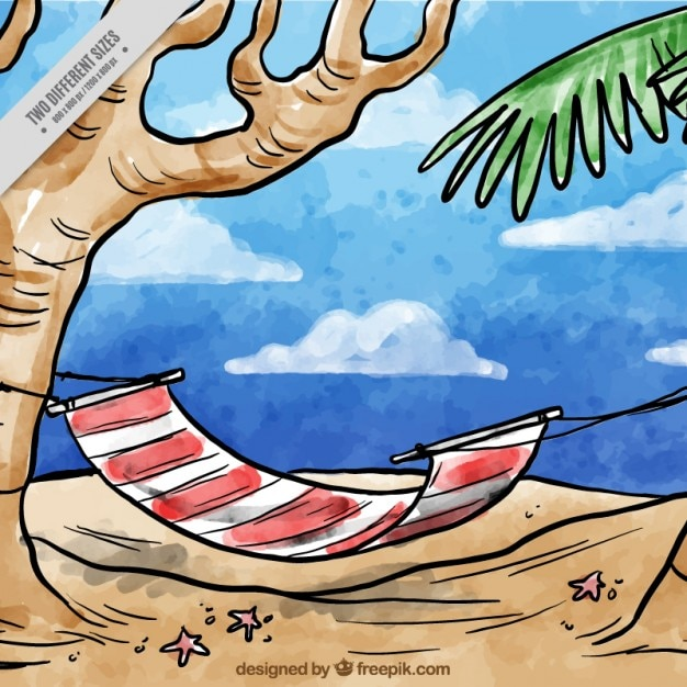 ビーチの背景に手描きの水彩ハンモック 無料ベクター