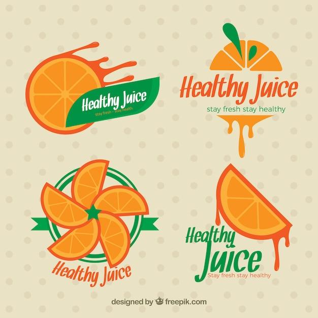 オレンジジュースのラベルが設定され 無料ベクター