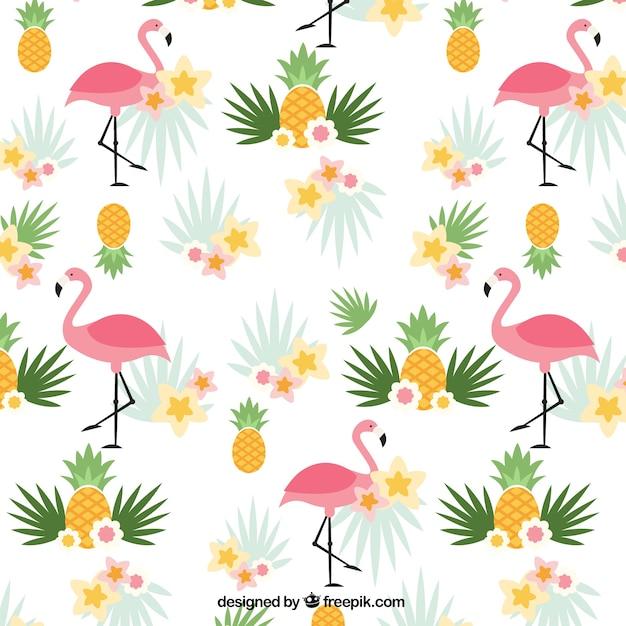 Фламинго и ананасы узор Бесплатные векторы