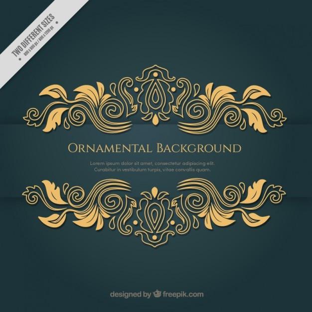 装飾の要素を持つビクトリア朝の黄金の背景 無料ベクター