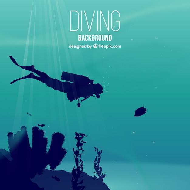 スキューバダイバーや海藻と現実的なダイビングの背景 無料ベクター