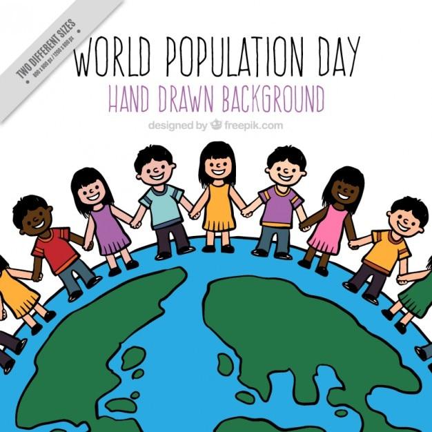 世界のバックグラウンドで手描き人口 無料ベクター