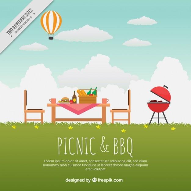 Красивый пейзаж с вкусным барбекю и пикников фона Бесплатные векторы