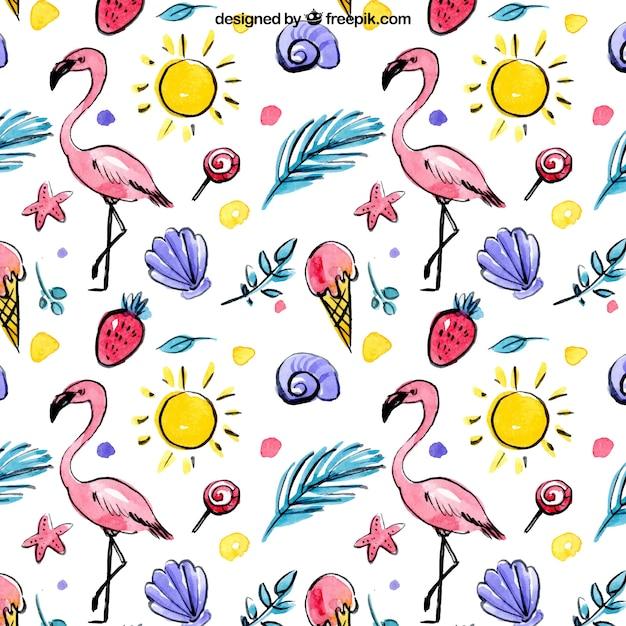 Ручной обращается лето элементы и фламинго акварель рисунок Бесплатные векторы