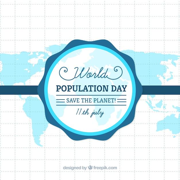 人口一日のブルーマップの背景 無料ベクター