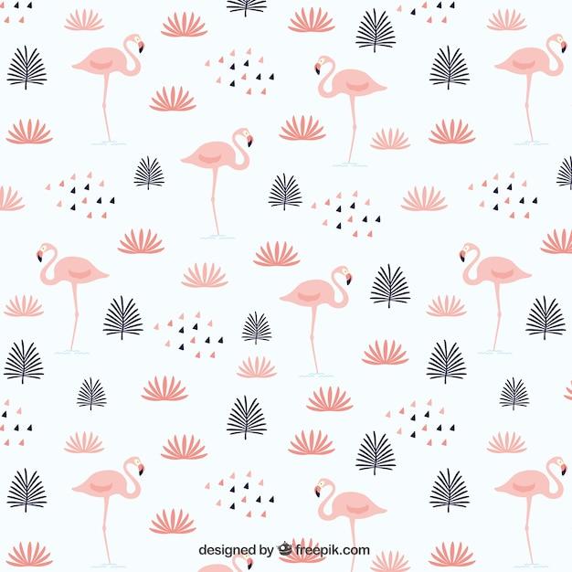 Листья с рисунком фламинго Бесплатные векторы