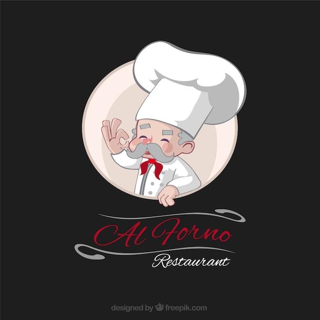 手描き経験豊富なシェフのレストランのロゴ 無料ベクター