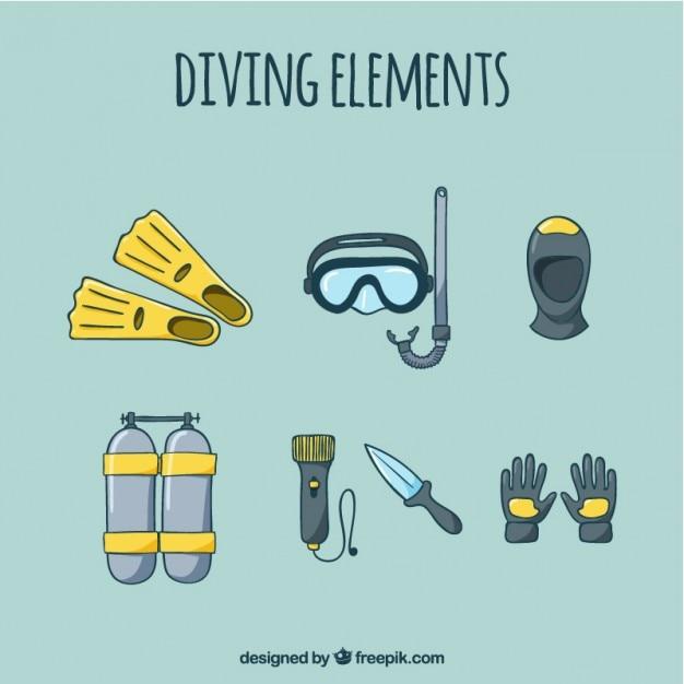 Эскизы элементов подводного плавания Бесплатные векторы