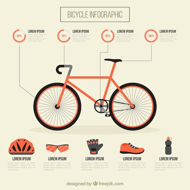 Велосипед с оборудованием инфографики Бесплатные векторы