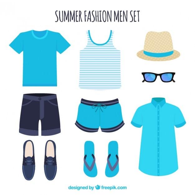 男性のための夏の服のセット 無料ベクター