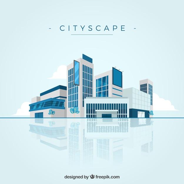 現代の都市景観の背景 無料ベクター