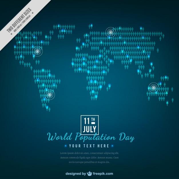 人口一日のスタイリッシュなブルーマップの背景 無料ベクター
