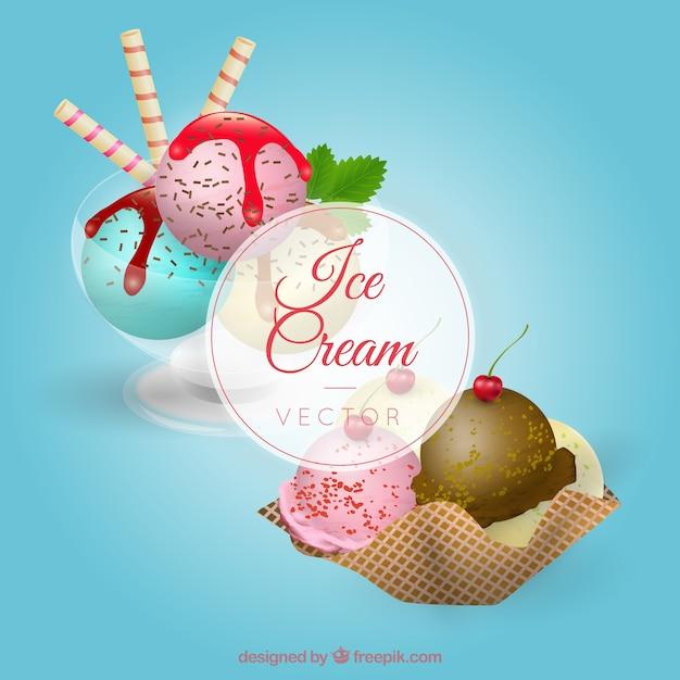 Реалистичные десерты с мороженым Бесплатные векторы
