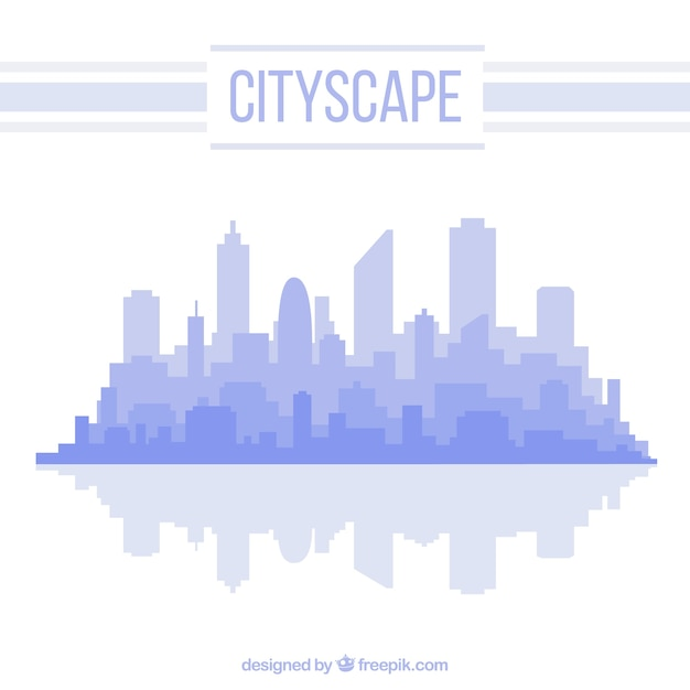 青い色のシンプルな町並みの背景 無料ベクター