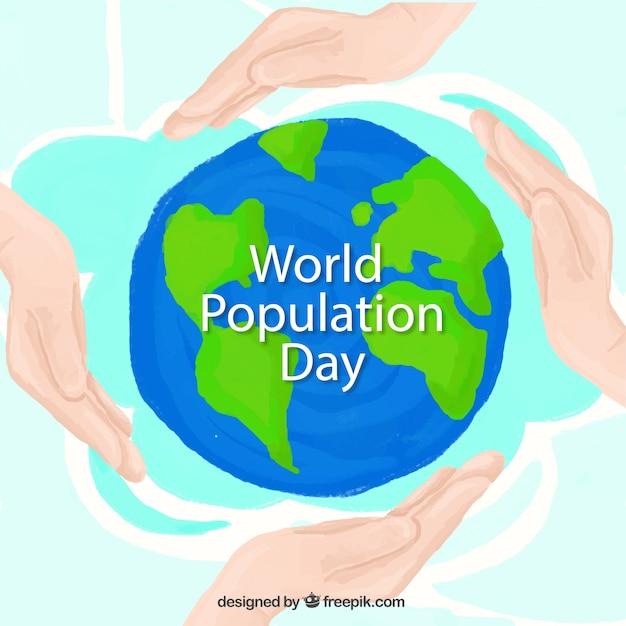 人口一日の世界の背景を持つ手 無料ベクター