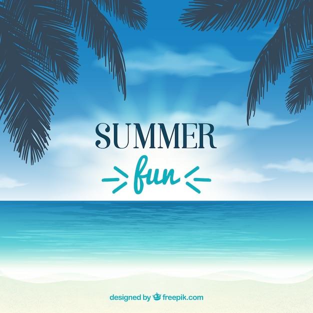 ヤシの木と海と夏の背景 無料ベクター