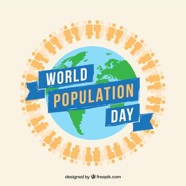 人と世界人口デーの背景 無料ベクター