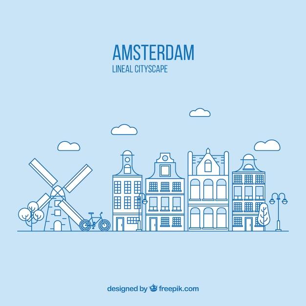 直系のスタイルの背景にあるアムステルダム 無料ベクター