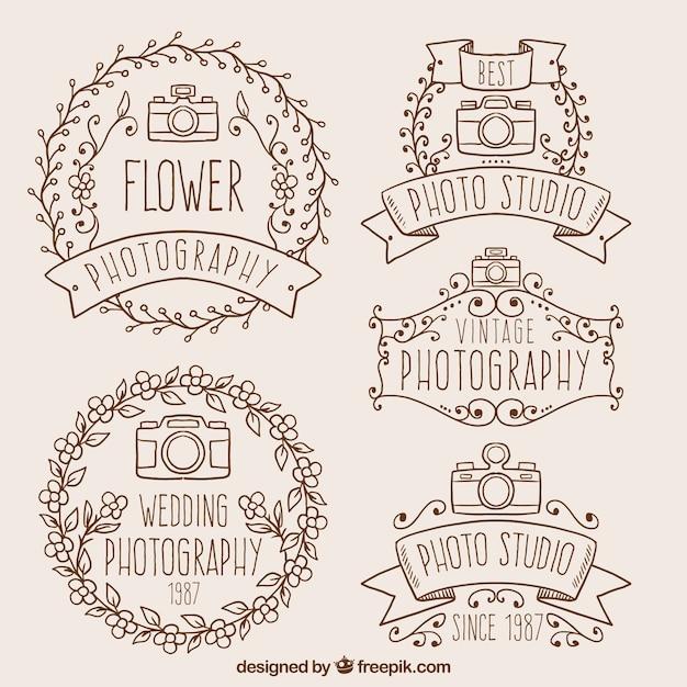 Ручной обращается декоративные фотографии значки в стиле винтаж Бесплатные векторы