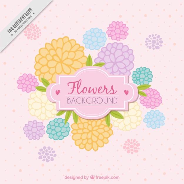 パステルカラーで手描きの花が背景 無料ベクター