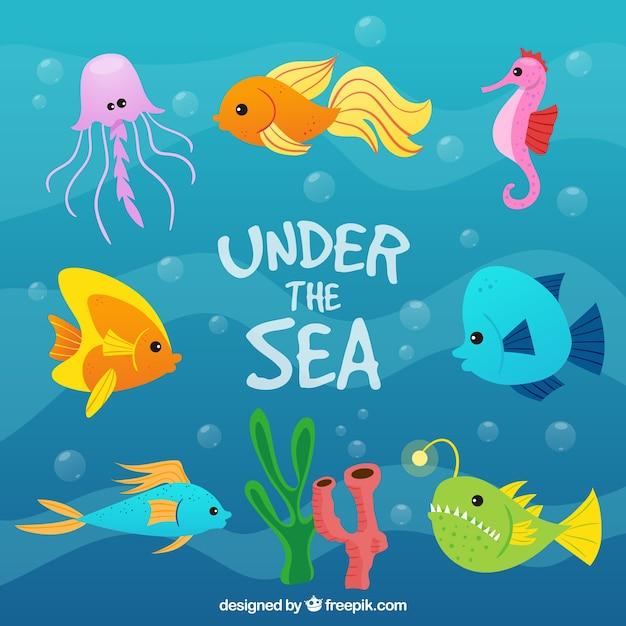 ハンド海の背景の下で色の魚を集めて 無料ベクター