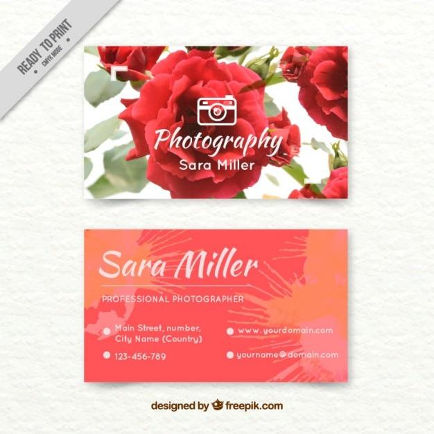 水彩バラと手描きカメラマンカード 無料ベクター