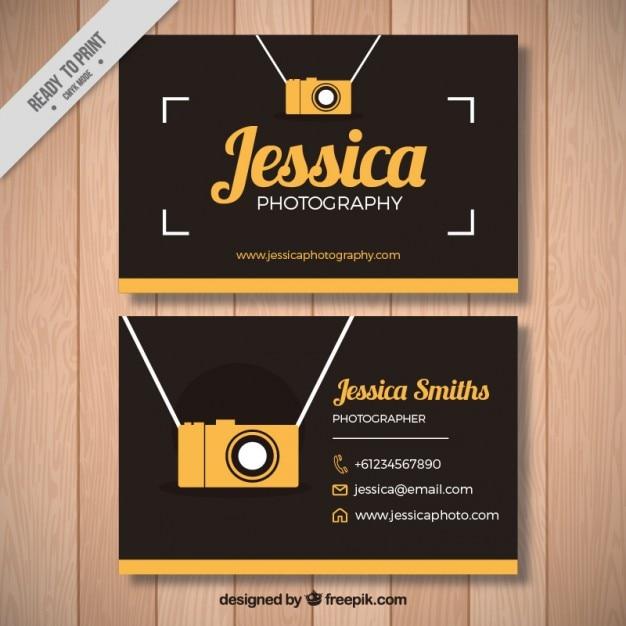 黄色のカメラ付きのビンテージ写真カード 無料ベクター