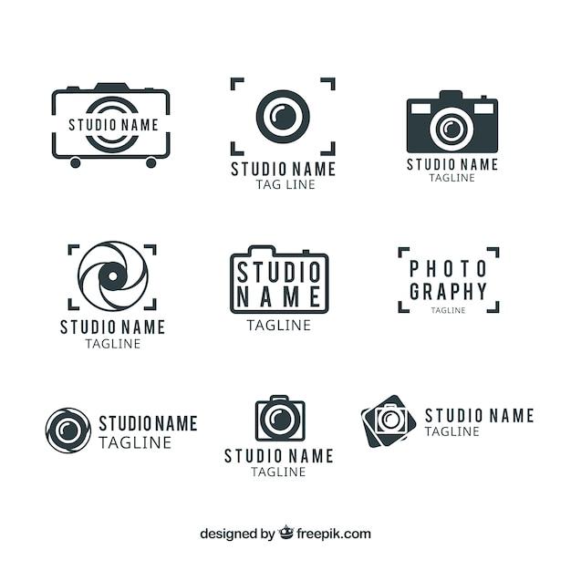 写真スタジオのロゴテンプレート 無料ベクター