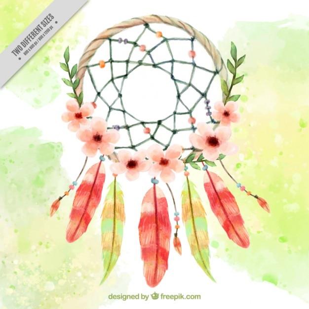 水彩花のドリームキャッチャー背景 無料ベクター