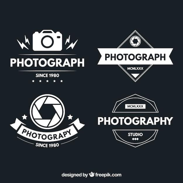 Логотипы фотографии в винтажном дизайне Бесплатные векторы