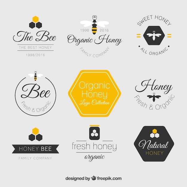 Красивые плоские логотипы мед Бесплатные векторы