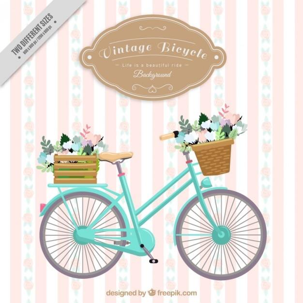 Урожай велосипед полосатый фон Бесплатные векторы