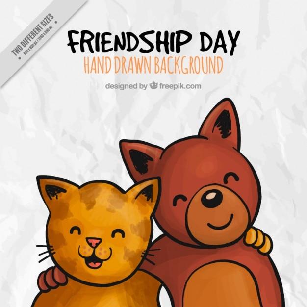 ラブリー動物の友情の日の背景 無料ベクター