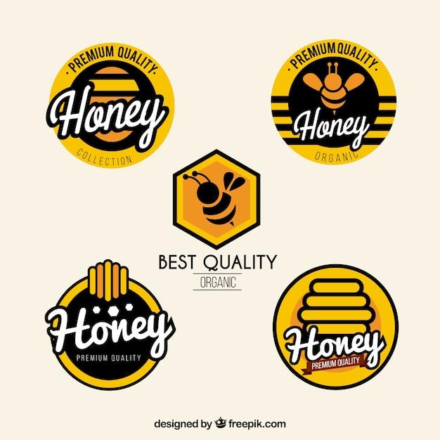 現代の蜂蜜のラベルが設定され 無料ベクター