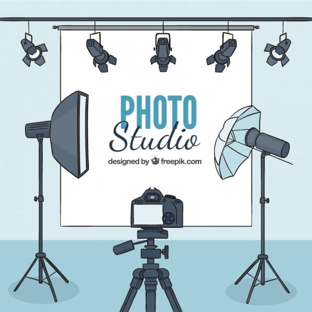 アクセサリーと手描きの写真スタジオ 無料ベクター