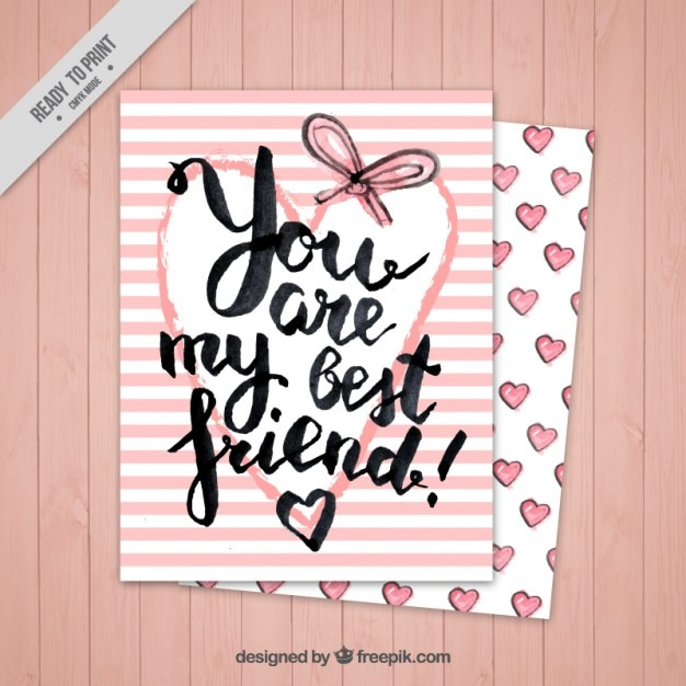 友情の日のピンクのストライプカード 無料ベクター