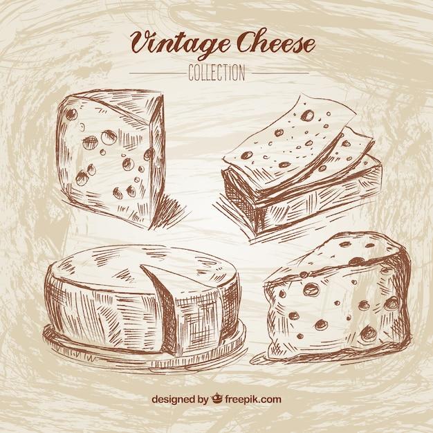 Ручной обращается сыр в стиле винтаж Бесплатные векторы
