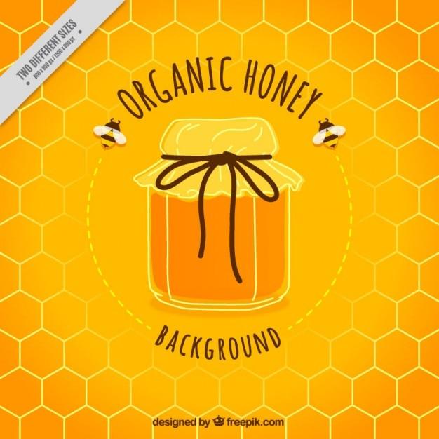 かわいい蜂蜜の瓶の背景 無料ベクター
