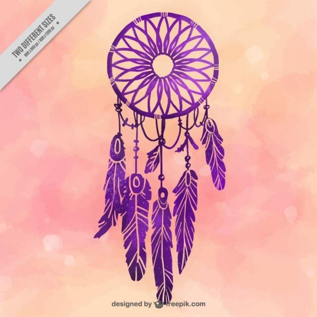 紫色の夢のキャッチャーと水彩画の背景 無料ベクター