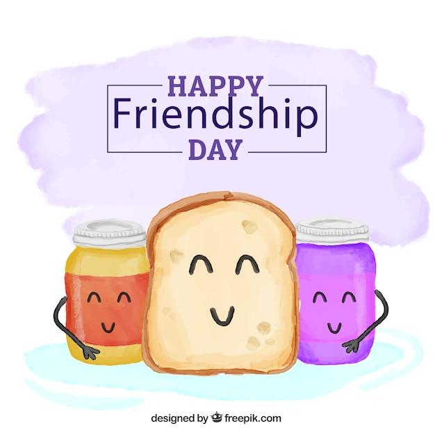 ジャム友情の日の背景と手描きトースト 無料ベクター