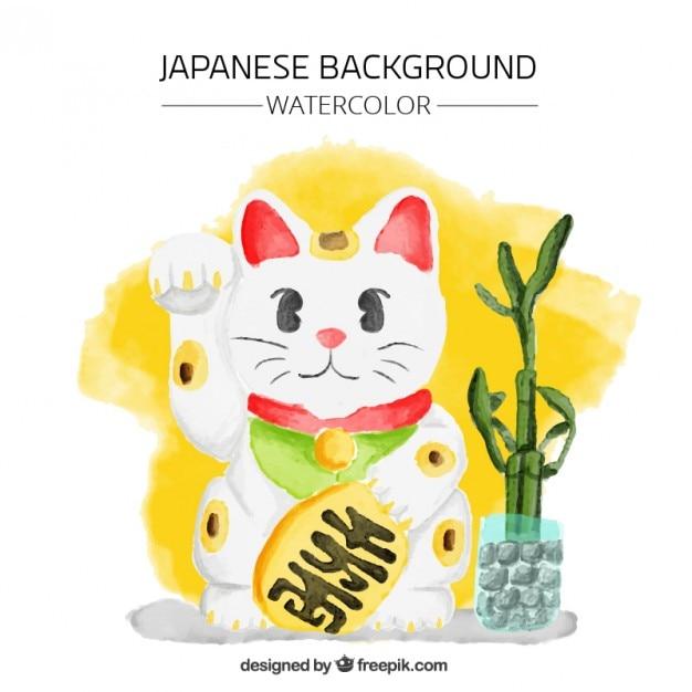 招き猫と水彩画の背景 無料ベクター